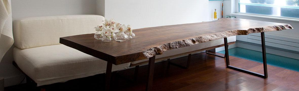 natural edge solid wood dining table